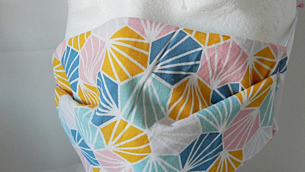 Masque 3 couches en tissu géométrique multicolore, lavable