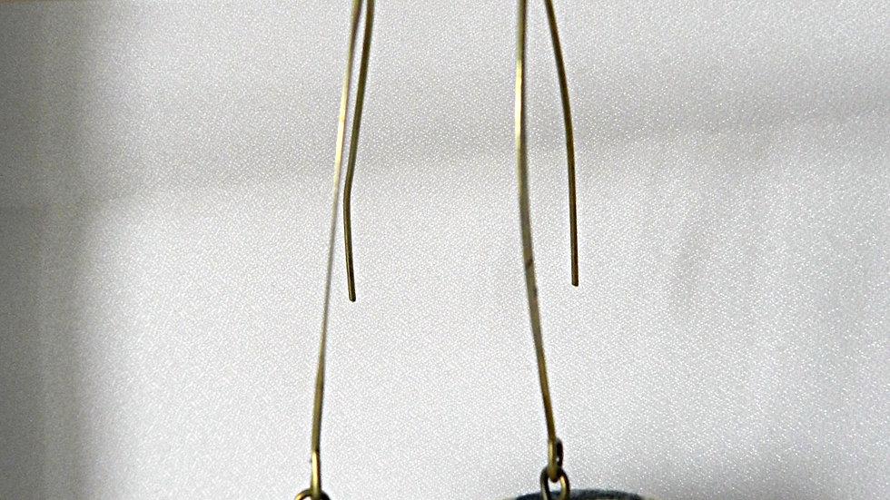 Boucles d'oreilles en tissu quadrillé noir et jaune
