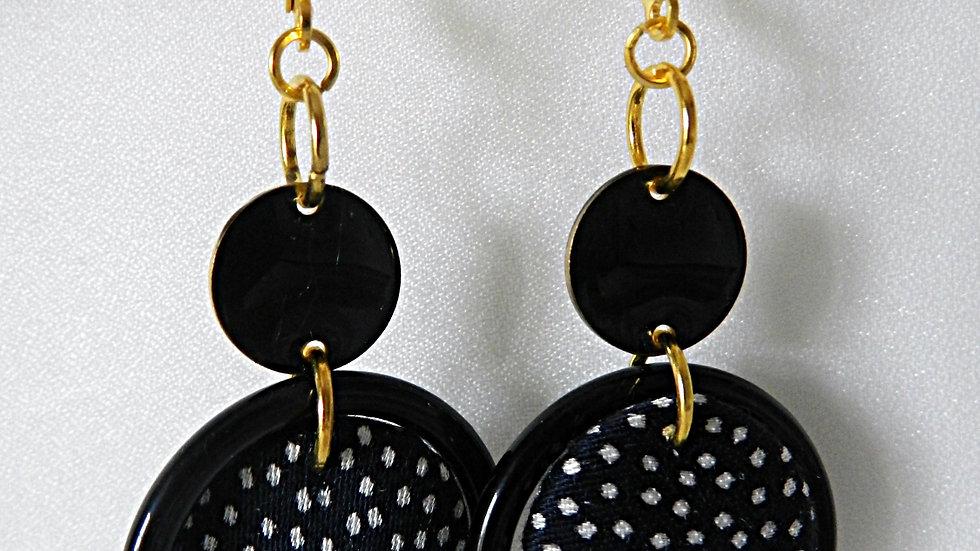 Boucles d'oreilles en tissu noir à pois blancs, avec anneau noir