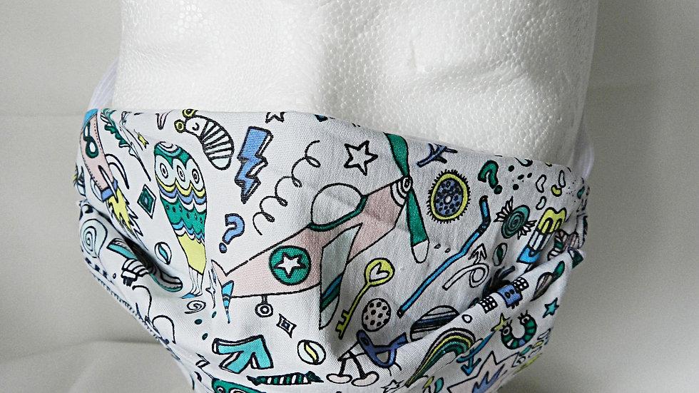 Masque 3 couches en tissu blanc avec dessins façon BD, lavable