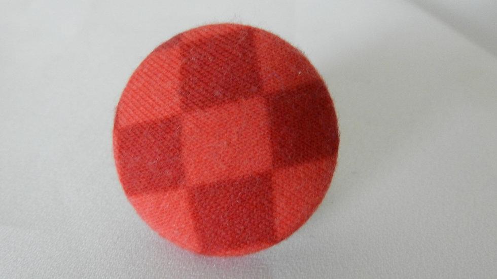 Bague réglable en tissu orange à damiers