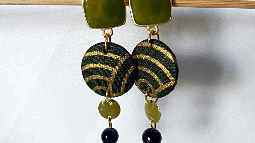 Boucles d'oreilles en tissu kaki et doré