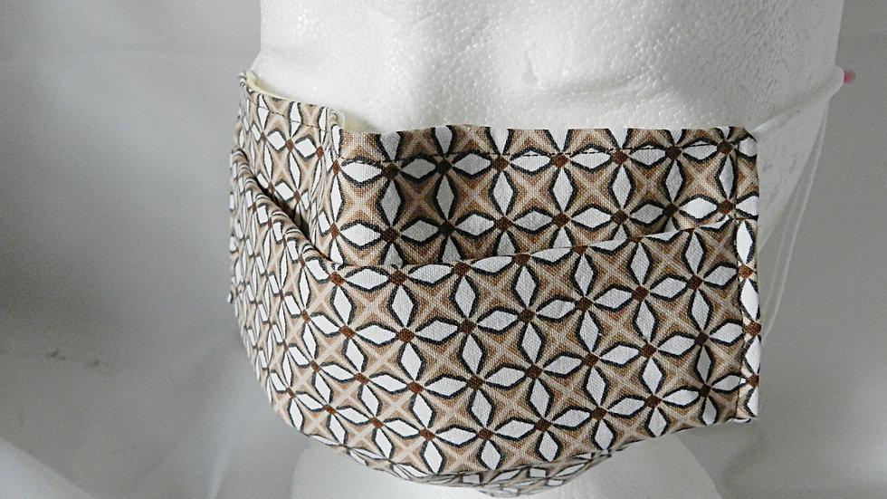 Masque 3 couches en tissu beige et blanc graphique, lavable