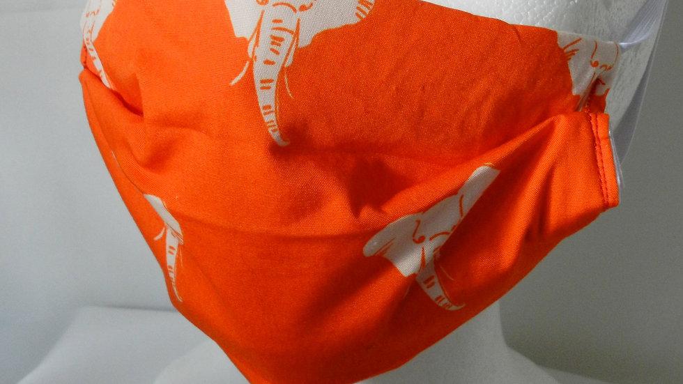 Masque 3 couches en tissu orange avec éléphants, lavable