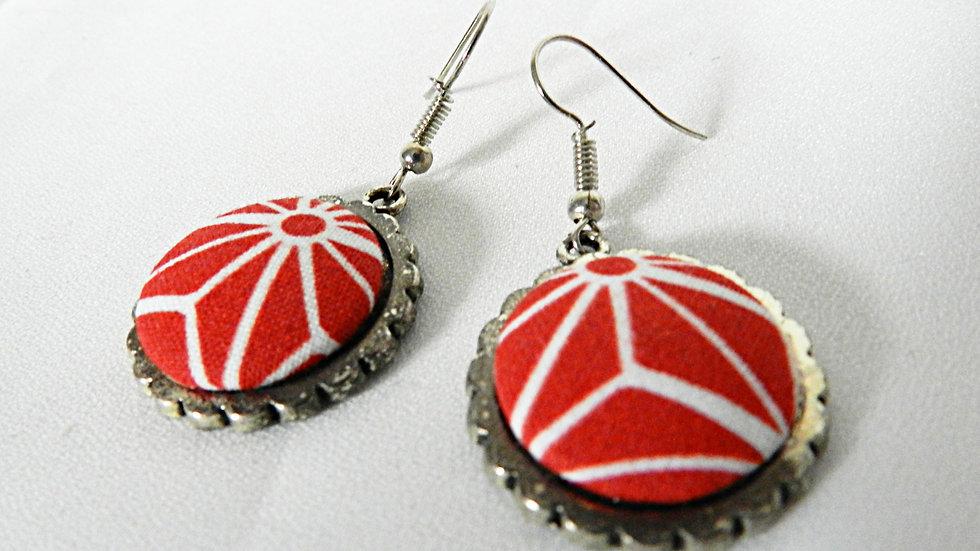 Boucles d'oreilles en tissu rouge et blanc