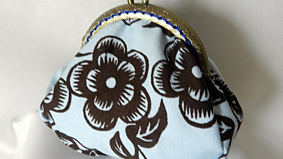 Porte-monnaie rétro en tissu fleuri marron et bleu