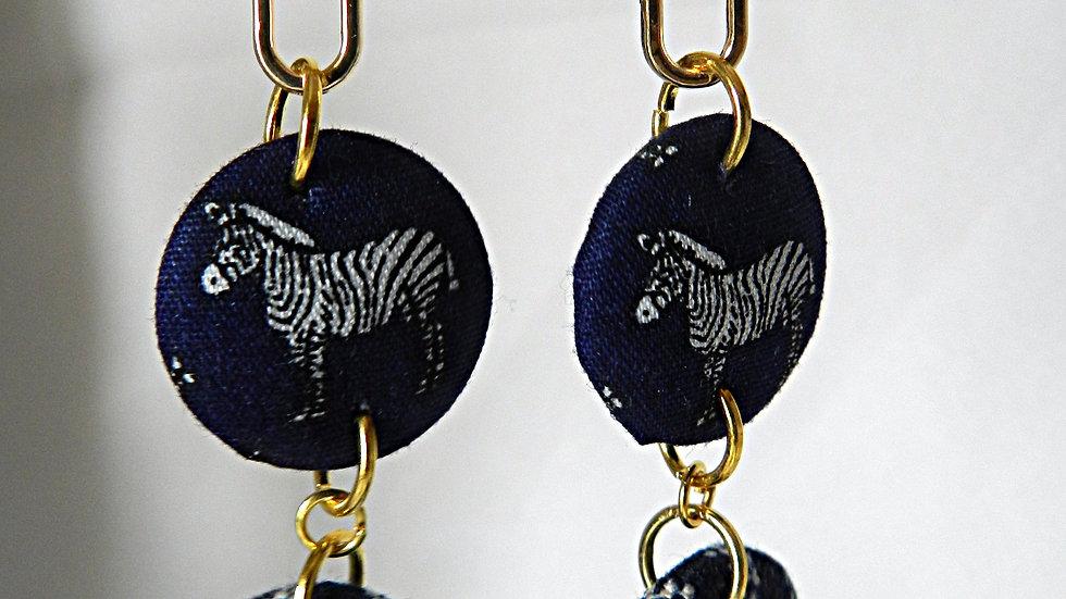 Boucles d'oreilles en tissu motif zèbre et jean