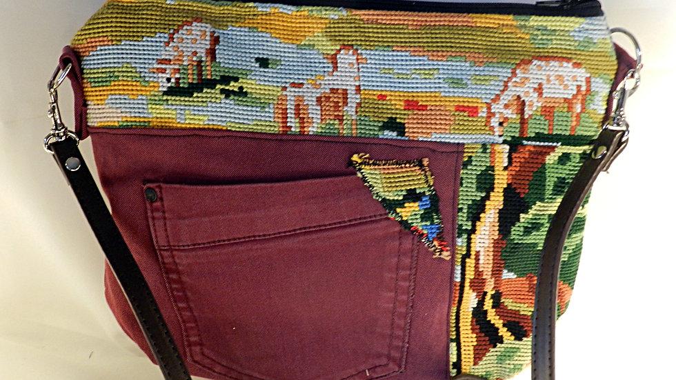 Sac à bandoulière, en jean et canevas recyclés