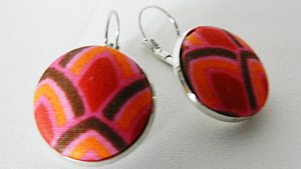 Boucles d'oreilles dormeuses en tissu rouge et rose
