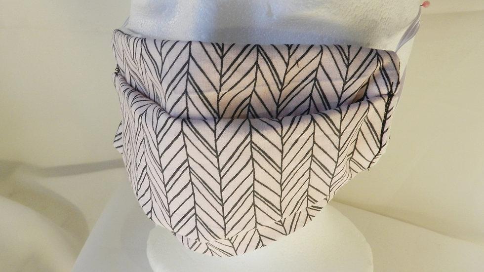Masque 3 couches en tissu rose graphique, lavable