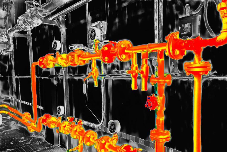 Imagem termográfica de tubulações