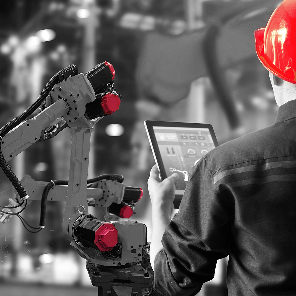 robô industrial industria 4.0 tablet dashboard