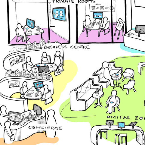 Illustration to visualise a new working environment