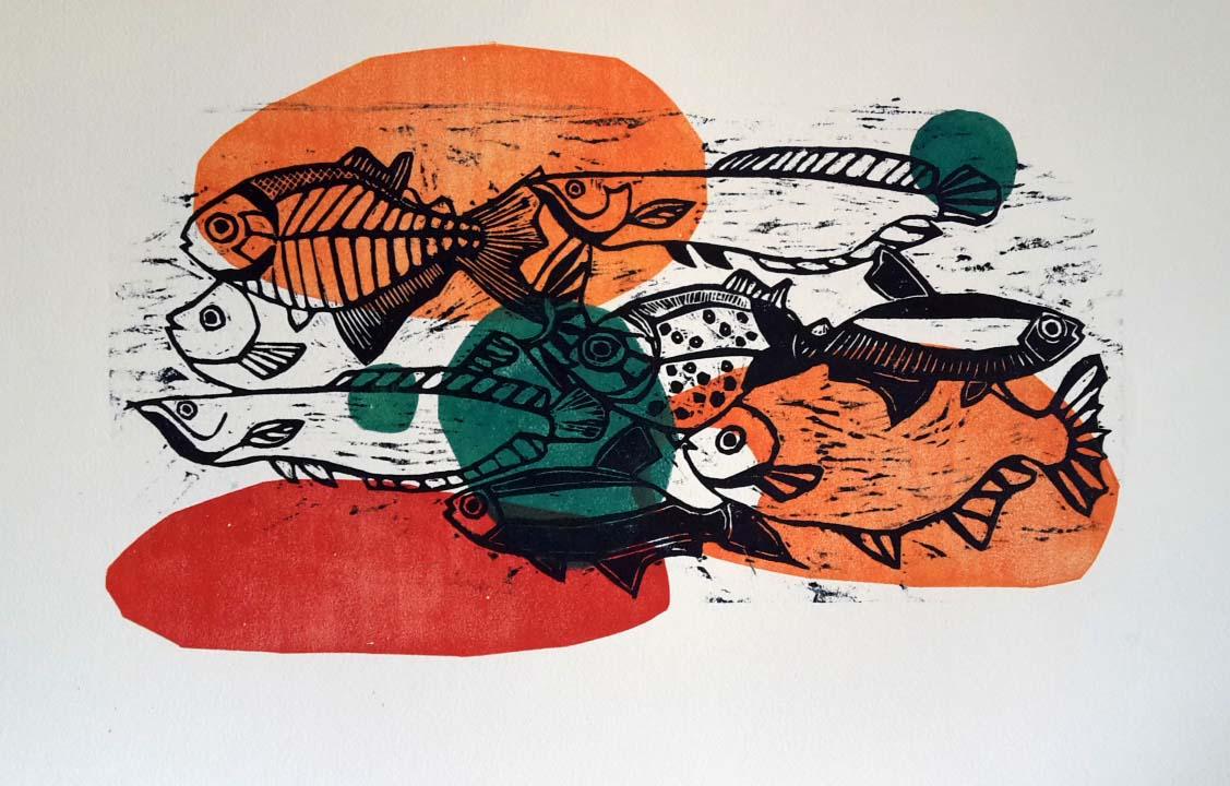 xilografía peces color