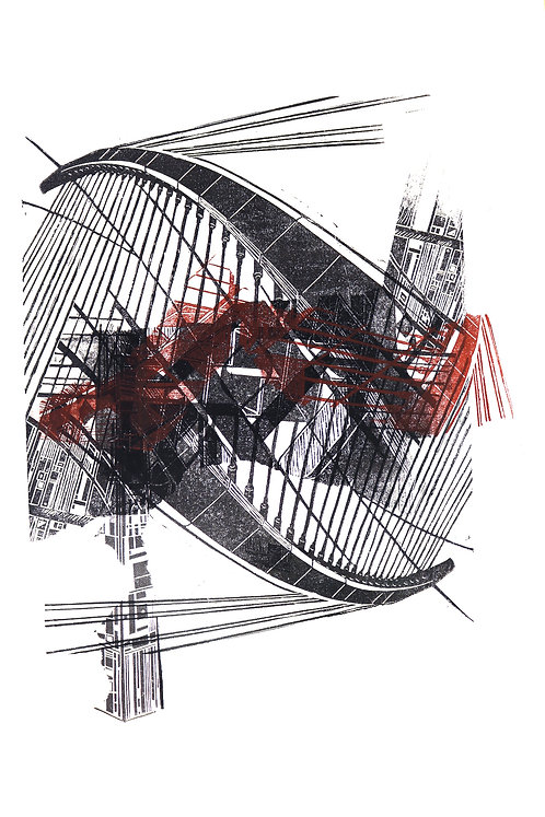 bridge I | Linolschnitt auf Papier | 36x51 cm