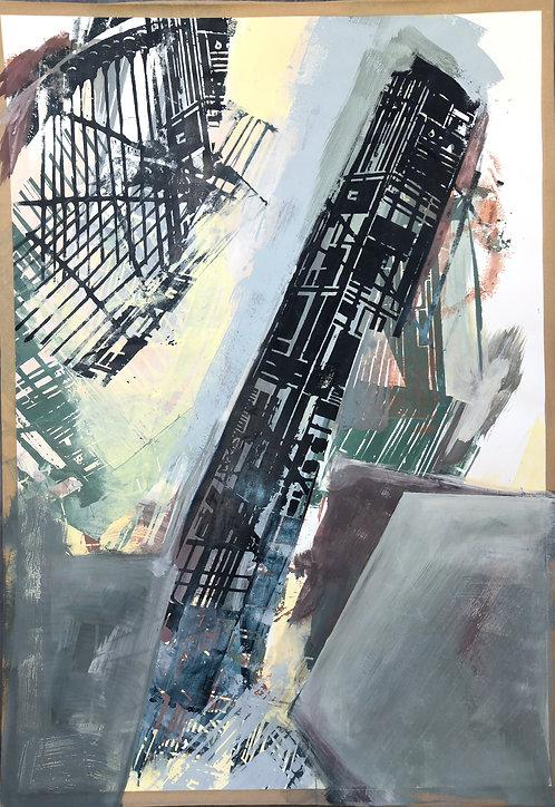 construction II | Siebdruck und Acryl auf Papier | 102x72 cm