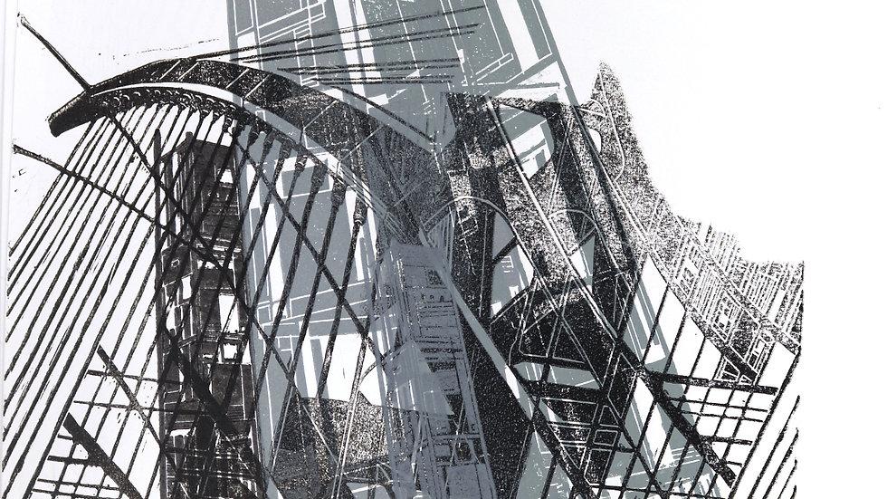 bridge IV | Linolschnitt auf Papier | 36x51 cm
