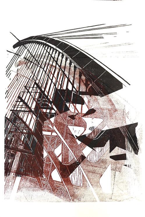 bridge II | Linolschnitt auf Papier | 36x51 cm