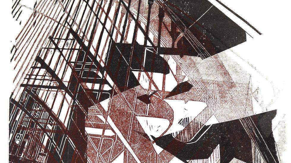 bridge II   Linolschnitt auf Papier   36x51 cm