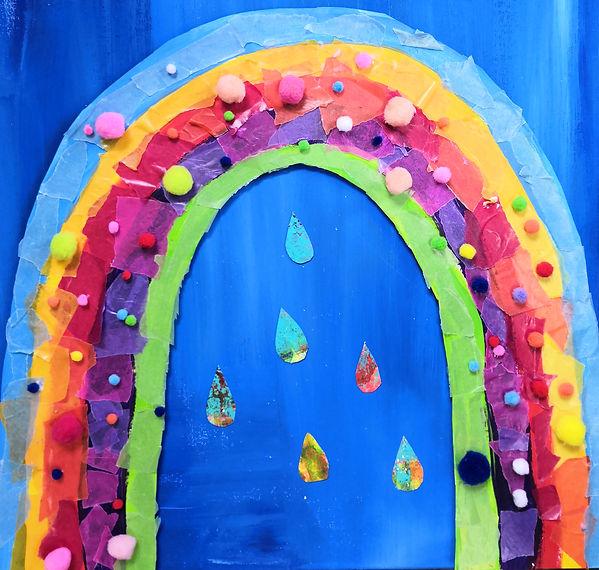 kunterbunter Regenbogen Kinderkunst Basteln