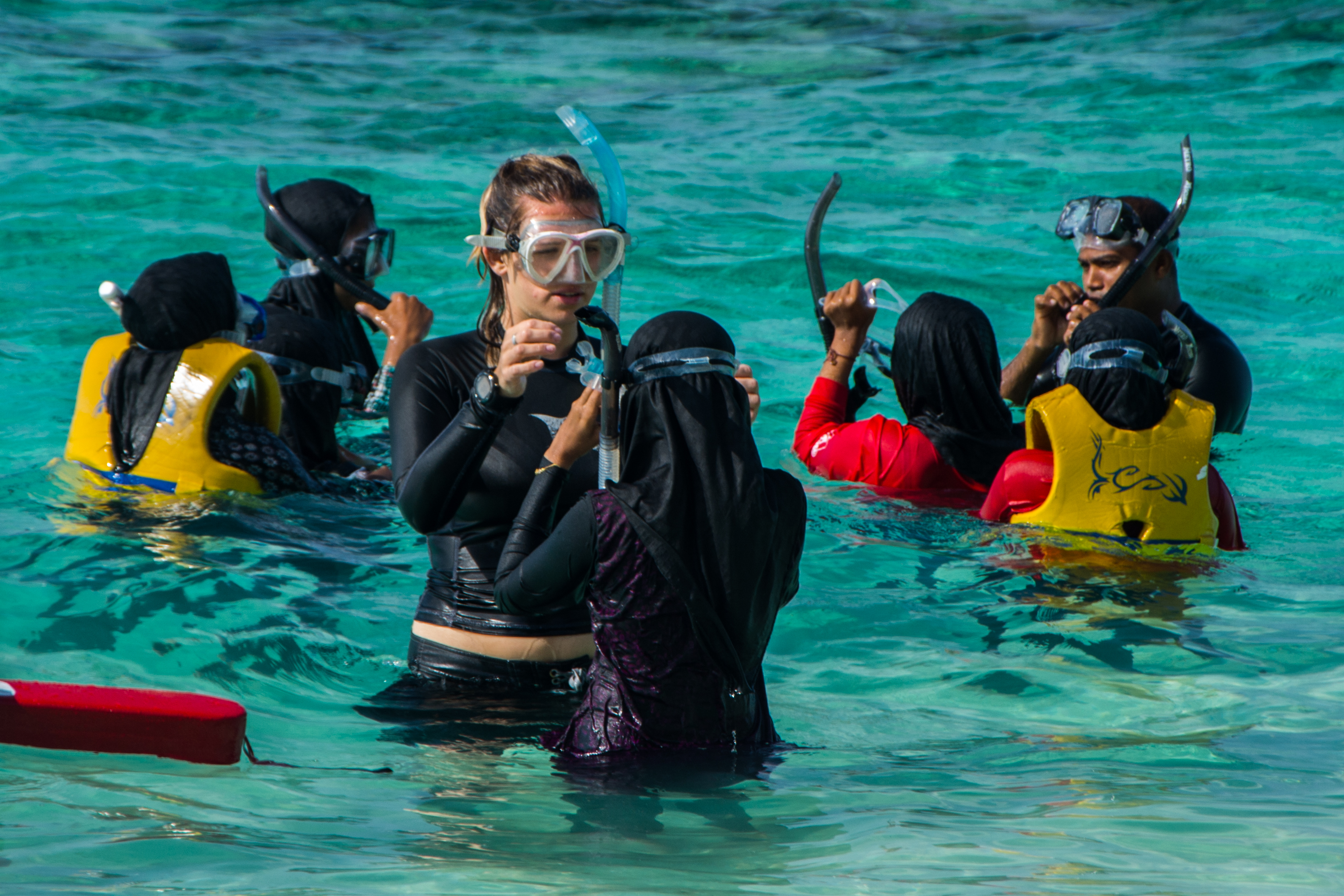 Teaching local Maldivians to swim