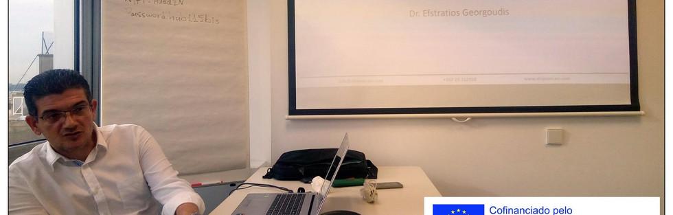 Dia 1 - A equipa de coordenação, gestão e desenvolvimento de projetos Erasmus + está representada no curso acima referido acerca da gestão efetiva & eficiente de projetos financiados pela União Europeia: Os principais objetivos são: - adquirir conhecimento em profundidade do funcionamento dos projetos europeus; perceber as obrigações no que concerne a visibilidade e comunicação/disseminação dos projetos financiados pela união europeia; preparar e lidar com as obrigações inerentes às auditorias da União Europeia; compreender a importância da monitorização e autoavaliação dos projetos; elaborar instrumentos de avaliação para o projecto; compreender os riscos financeiros e a implementação de medidas de mitigação destes.