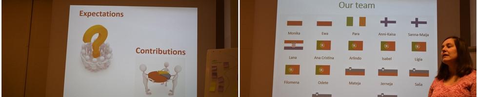 Dia 1 - A primeira sessão de trabalho envolveu estratégias de apresentação e interação entre todos os participantes da formação, assim como, das formadoras. Foram realizadas atividades de apresentação individual e em grupo, exploração das expetativas e contributos para esta formação, e apresentação dos objetivos, temas e ações a desenvolver.