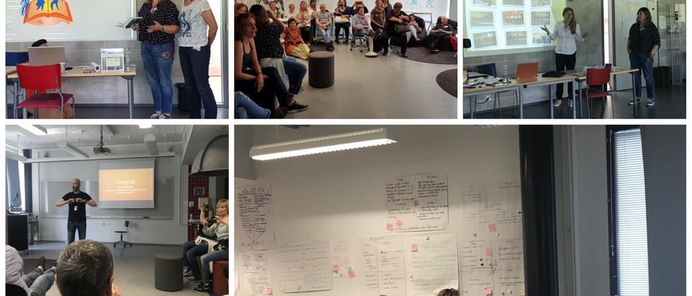"""Dia 5 - Sessão sobre novas pedagogias para """"Phenomena Based Learning"""" / Recurso a uma DBL app (Design Based Learning) / Apresentação de atividades desenvolvidas no nosso Agrupamento que desenvolvem as competências globais dos nossos alunos / Visita ao """"Living Lab"""" na escola secundária de Tikkurila com o professor de artes utilizador - Jarmo Palola / Sessão sobre os alunos como agentes em mudança, """"Culture Innovation"""" e como apoiar os professores nesta perspetiva de educação para o século XXI com o Diretor da escola - Ari Ranki."""