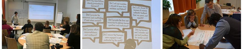 3.º, 4º e 5.º dias - No 3º e 4º dia, foram realizadas várias atividades, para possível aplicação em contexto de sala de aula, que visam desenvolver nos alunos atitudes positivas e metodologias assertivas face à aprendizagem. Foi feita uma abordagem teórica a termos da psicologia geral e atitudinal, nomeadamente a resiliência, a empatia, o autocontrole e a gestão da ansiedade e da adversidade, todas elas passíveis de aplicação em contexto educativo. Realizaram-se amplos debates sobre situações escolares que envolvem momentos de adversidade ou gestão de conflitos: etapas procedimentais. O quinto foi dedicada a atividades práticas baseadas em histórias, para desenvolver diferentes competências sociais integradoras.