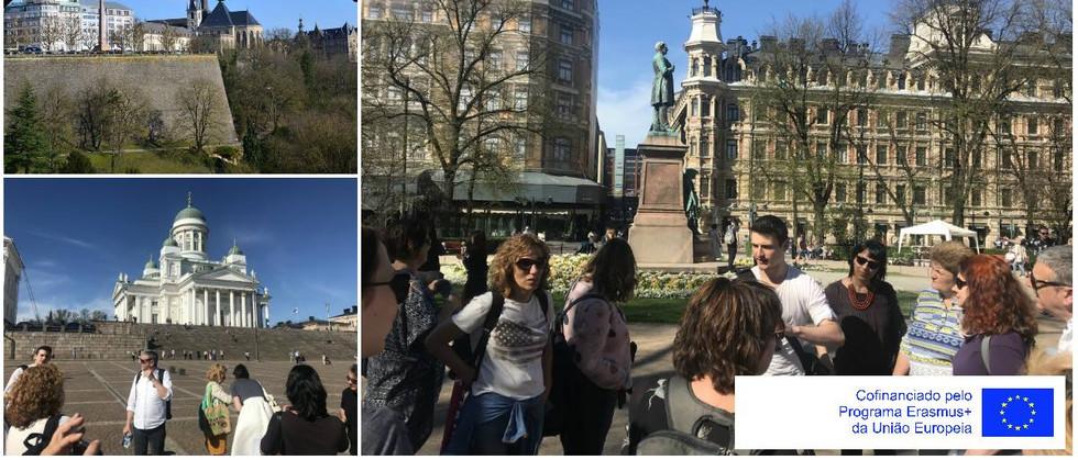"""Dia 1 - As professoras em formação tiveram no seu primeiro dia uma visita guiada por Helsínquia com a apresentação dos participantes na formação """"Integrated curriculum – teaching global skills""""."""