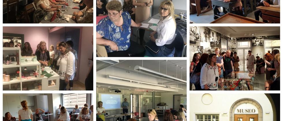 """Dia 4 - As professoras tiveram neste quarto dia uma Sessão sobre """"Social Innovation in Schools"""". Troca de experiências sobre novos ambientes de aprendizagem com convidado especial Arto Martikainem (diretor de uma escola Finlandesa). Visita ao Museu como exemplo do tema tratado na sessão da manhã."""