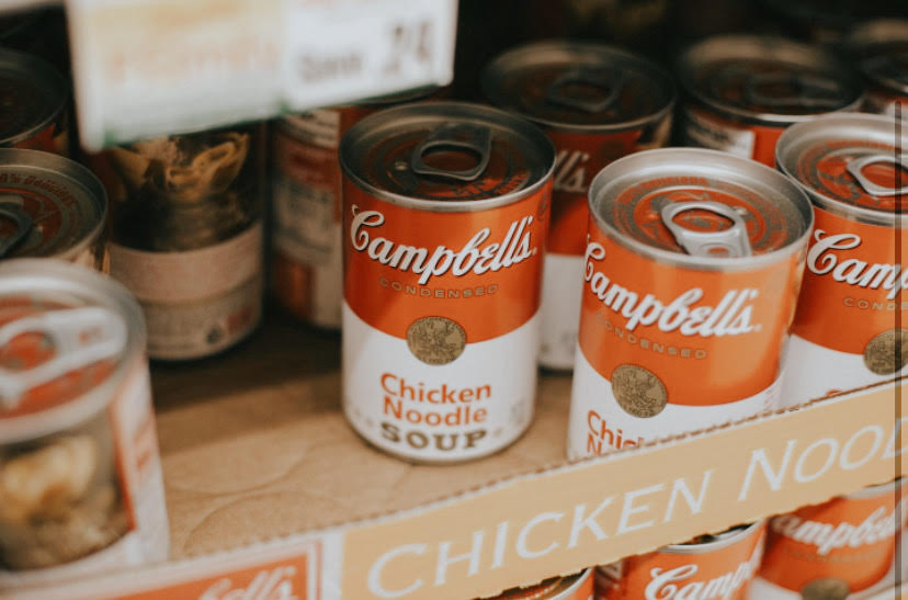 Cans of Campbell's Chicken Noodle Soup