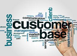 Customer base word cloud concept on grey