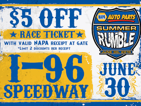NAPA Receipts Worth $5 Off Tickets June 30 at I-96 Speedway for DIRTcar Summer Nationals and Summit