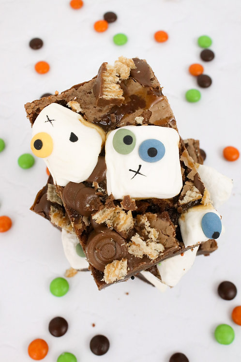 Ghostly Caramel Brownie Slice