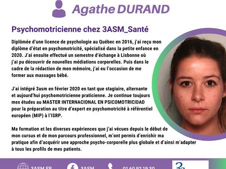 3asm est fière de vous présenter Agathe DURAND, l'une de nos psychomotriciennes.