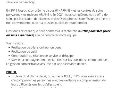 ALERTE RECRUTEMENT : Post d'orthophoniste à pourvoir