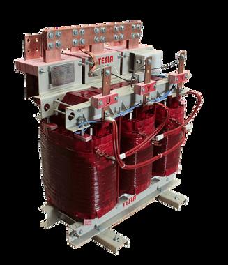 Transformador Trifásico seco Clase H 300 kVA Serie 1.1 / 1.1 kV. (Alta corriente 36kV - 500 A) con sondas PT 100 y caja de borneras