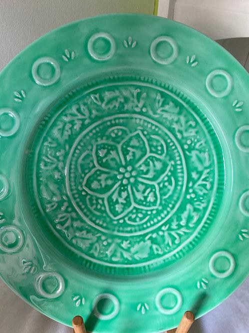 Light Green Large Metal Serving Plate