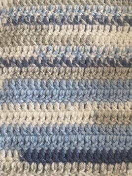 Blue Hand Crochet Blanket