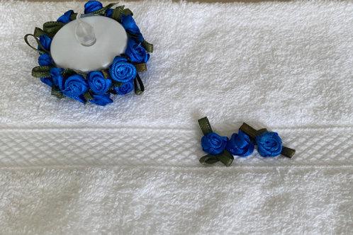 Face Flannel and Tea Light Set in Cobalt Blue