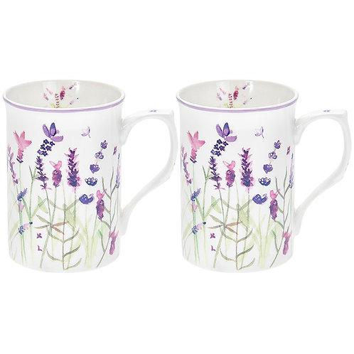 Purple Lavender Mugs Set of 2