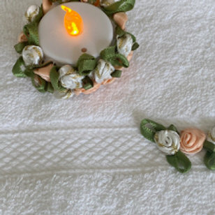 Face Flannel and Tea Light Set in Peach
