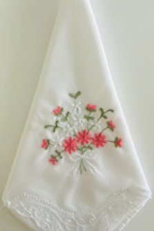 Coral Flower Embroidery Hankie