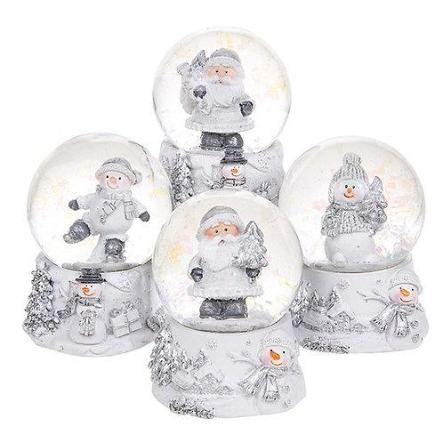 Small Waterball White Snowman and Santa