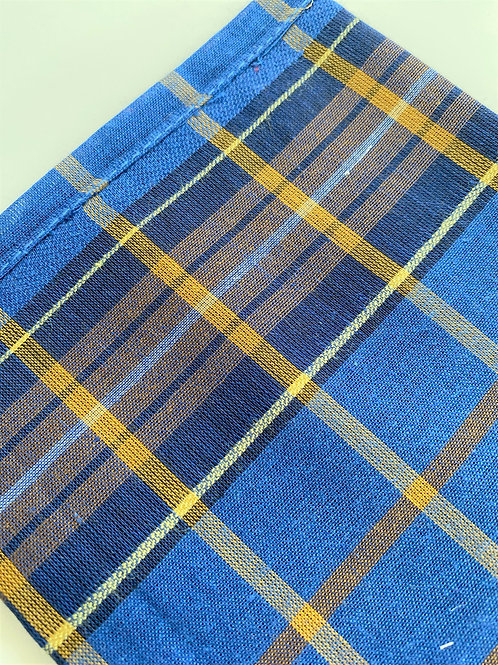 Blue Tartan Handkerchief For Men