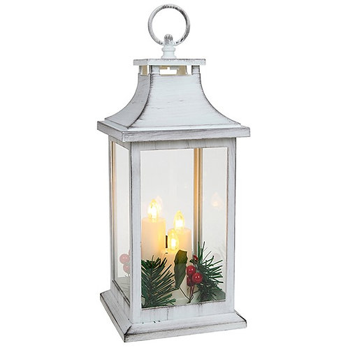 Xmas Flame Lantern 3 Candle White Small