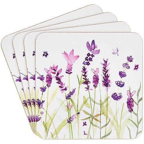 Purple Lavender Coasters set of 4