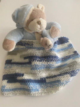 Teddy with Blue Hand Crochet Blanket
