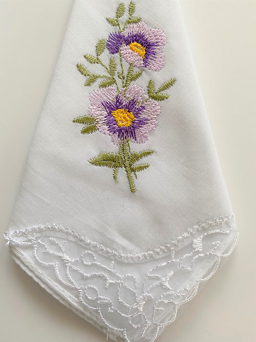 Purple Flower Handkerchief